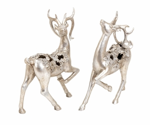 Santa's Silver Reindeer Set of 2 Holiday Decor