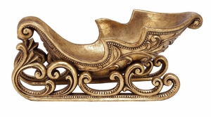 Santa Xmas Sled Gold Finish Holiday Decor