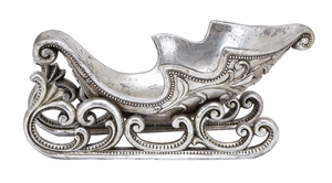 Santa Xmas Sled Silver Finish Holiday Decor