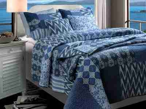 Santorini Quilt Queen Size With 2 Shams, Cotton Queen Size Quilt Brand Greenland Home fashions