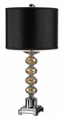 Saturna Crystal Sphere Table Lamp with Nickel Detailing Brand Uttermost