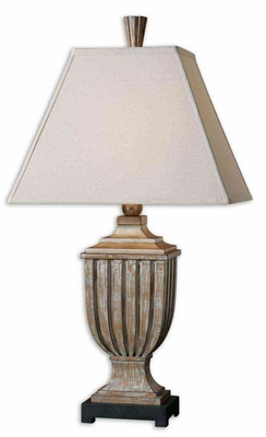 Saviano Aged Pecan Lamp with Intricate Detailing Brand Uttermost