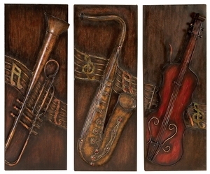 Savoy Jazz Band Classic Metal Wall Decor Sculpture - Set of 3 Brand Woodland