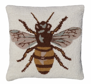 "Scary but Lovely Bee Hooked Pillow 18x18"" by 123 Creations"