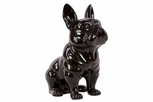Scintillating Bright Ceramic Black Dog with Antique Finish