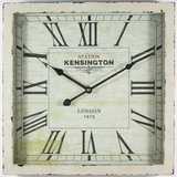 Scintillating Square White Wooden Wall Clock with glass by Yosemite Home Decor