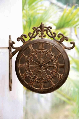 Scroll Clock & Thermometer A Marvelous Double -Sided Outdoor Decor Brand SPI-HOME