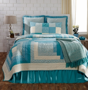 "Sea Glass Euro Sham Fabric Ruffled 26"" x 26"" by VHC Brands"