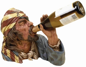 "Sea Pirate Bust Wine Bottle Holder 12""Wx11""H Brand Woodland"