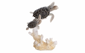 Sea Turtle Decor - Polystone Cast Statue of Playful Turtle Brand Woodland