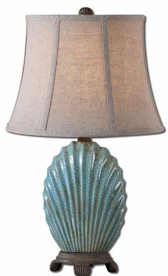 Seashell Blue Buffet Lamp with Chocolate Bronze Details Brand Uttermost