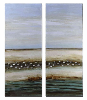 Seaside Illusion Canvas Art in Glossy Finish - Set of 2 Brand Uttermost
