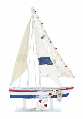 Seaside Wooden Sail Boat -Trendy Coastal Villa D�cor Brand Woodland