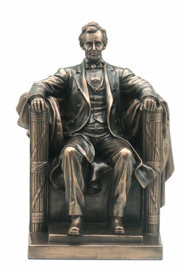 Seated Abraham Lincoln Statue with Cold Cast Bronze Construction Brand Unicorn Studio