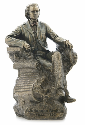 Seated Johannes Brahms Statue with Cold Cast Bronze Construction Brand Unicorn Studio