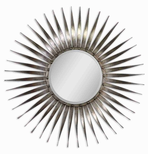 Sedona Sunburst Mirror with Bursting Rays of Silver Leaf Undertones Brand Uttermost