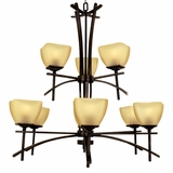 Sentinel Collection Classy 9 Lights Chandelier in Venetian Bronze by Yosemite Home Decor
