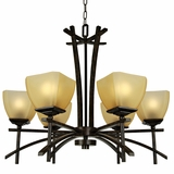 Sentinel Collection Stylized 6 Light Chandelier with shade in Venetian Bronze by Yosemite Home Decor