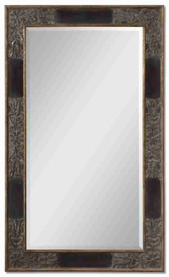 Serafina Rectangular Mirror with Dark Mahogany and Rottenstone Glaze Brand Uttermost