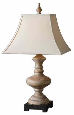 Serdiana Wood Table Lamp with Rustic Bronze Foot Brand Uttermost