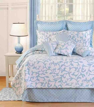 Serendipity Blue Cotton  Quilt Luxury Os Queen  Bedding Ensembles Brand C&F