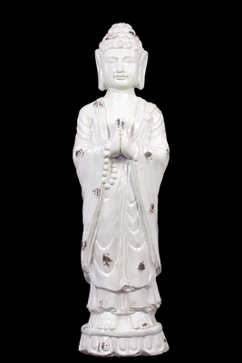 Serene and Glorious White Ceramic Polished Standing Buddha