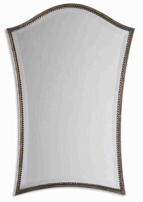 Sergio Arched Mirror with Narrow Burnished Silver Leaf Frame Brand Uttermost