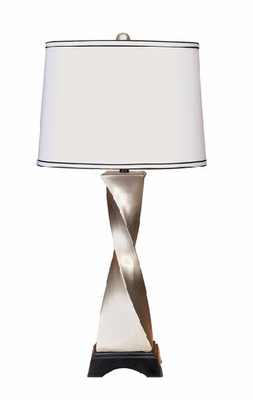 "Set/2 34"" Tall Designer White Table Lamp Brand Woodland"