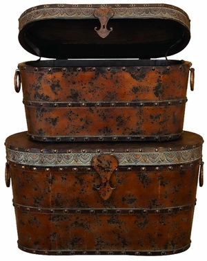 Set/2 Antiqued Metal N Wood Chest Trunk Old Time Boxes Brand Woodland