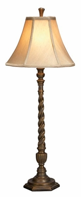 """Set/2 Aspen Polystone Table Lamps 32"""" Ivory Color Shade Brand Woodland"""