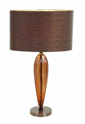 "Set/2 Bali Table Lamps With Brown Shade 25"" Brand Woodland"