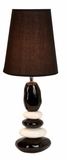 "Set/2 Black Designer Ceramic Table Lamps 23"" With Shade Brand Woodland"