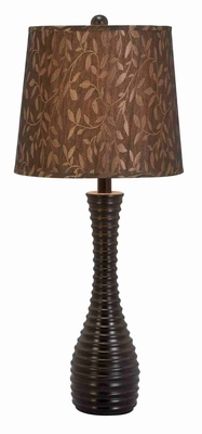 "Set/2 Black Table Lamps With Brown Leaves Shades 29"" Brand Woodland"