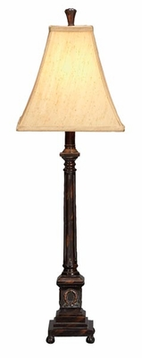 "Set/2 Bordeaux Polystone Table Lamps 32"" Ivory Shade Brand Woodland"