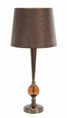 "Set/2 Brown Table Lamps With Brown Shade 29"" Brand Woodland"