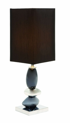 "Set/2 Ceramic Table Lamps With Black Shade 22"" Brand Woodland"