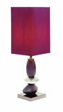 "Set/2 Ceramic Table Lamps With Red Shade 22"" Brand Woodland"