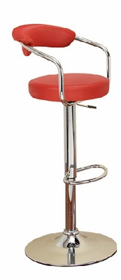 Set/2 Contempo Red Bar Stool with Gas Lift Full Swivel, Back Rest Brand Woodland