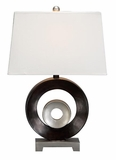 "Set/2 Designer Double O Table Lamps 24"" W/ White Shade Brand Woodland"