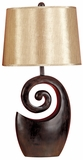 "Set/2 Ebony Black N Gold Table Lamp 27"" With Shade Brand Woodland"