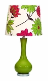 "Set/2 Green Fleur Table Lamps With Flower Shade 25"" Brand Woodland"