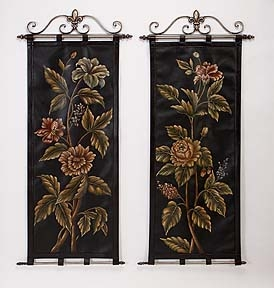 "Set/2 In Bloom Leather Tapestry Scroll Wall Decor 57""H"