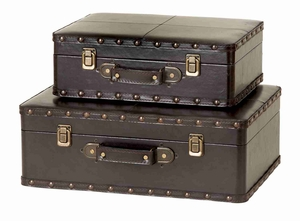 Set/2 Kingston Trunks Leather N Wood Boxes Brand Woodland