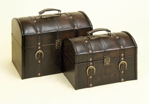 Set/2 La Rouge Faux Leather Wood Boxes Set W Handle Brand Woodland