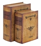 Set /2 Les Miserable's Leather Faux Book Boxes Set Brand Woodland