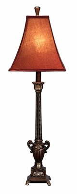 "Set/2 Maxi Polystone Table Lamps 32"" Red Color Shade Brand Woodland"