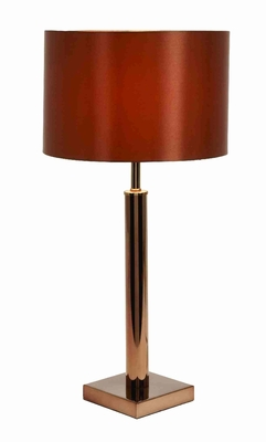 "Set/2 Metal Arm Table Lamps With Red Shade 25"" Brand Woodland"