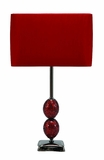"Set/2 Mosaic Table Lamps With Red Shade 24"" Brand Woodland"