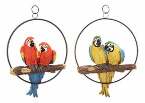 Set/2 Parrots Pairs In Rings Garden Statue Sculpture Brand Woodland