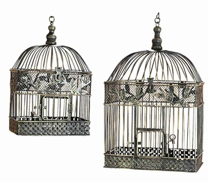 "Set/2 Patina Metal Square Parakeet Birds Cages 18"" Brand Woodland"